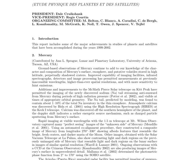 Pdf Commission 16 Physical Study Of Planets And Satellites Etude Physique Planetes Et Des Satellites