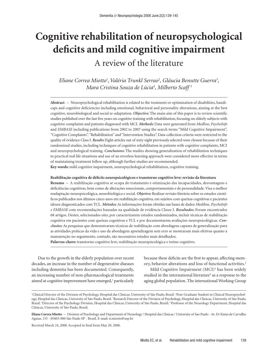 Cognitive Rehabilitation Of Neuropsychological