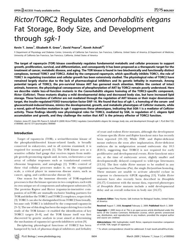(PDF) Jones KT, Greer ER, Pearce D, Ashrafi K.. Rictor ...