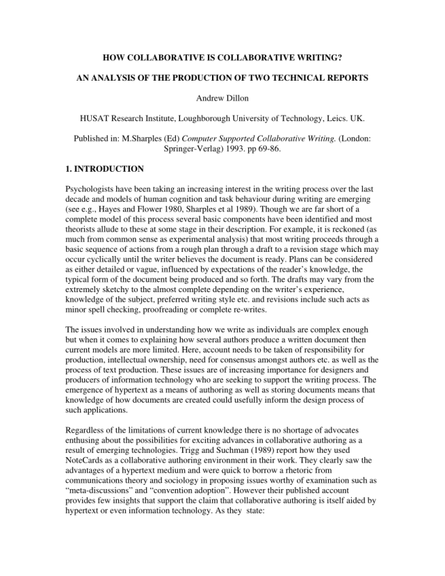 PDF) How Collaborative is Collaborative Writing? An Analysis of