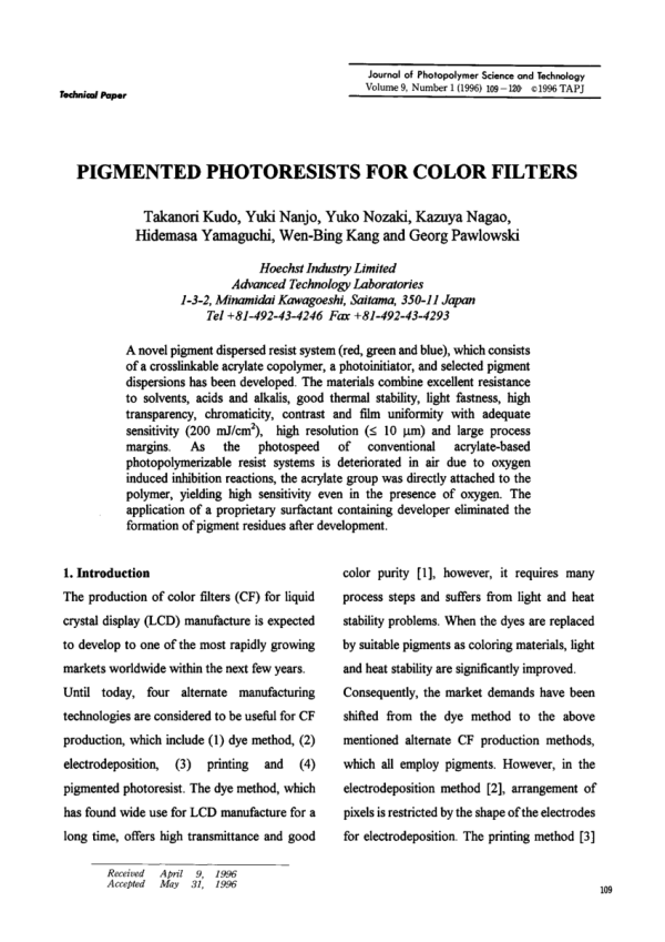 (PDF) Pigmented Photoresists for Color Filters