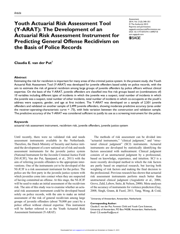 (PDF) Youth Actuarial Risk Assessment Tool (Y-ARAT): The ...