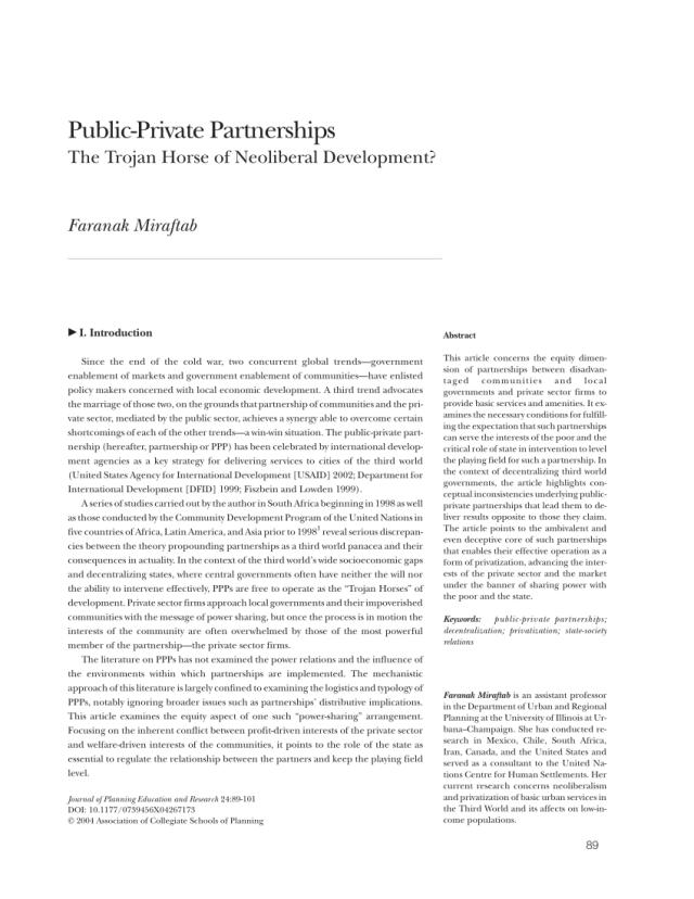 PDF) Public-Private Partnerships: The Trojan Horse of Neoliberal