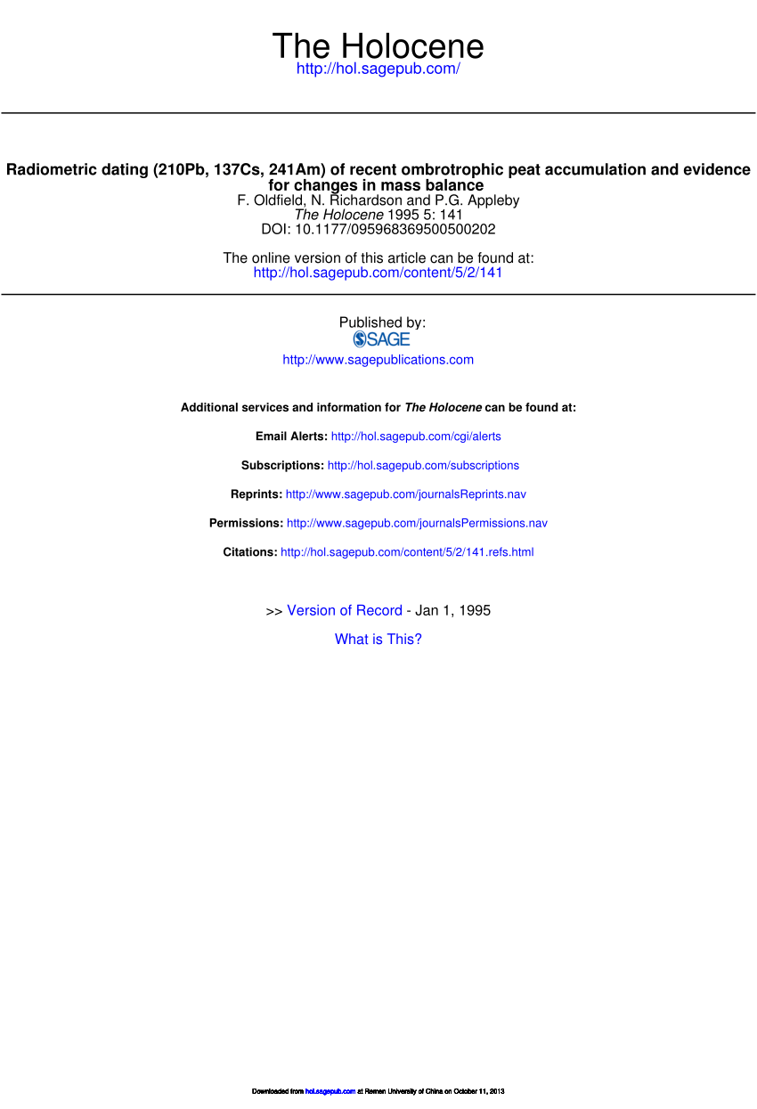 Radiometric Dating 210pb 137cs 241am Of Recent