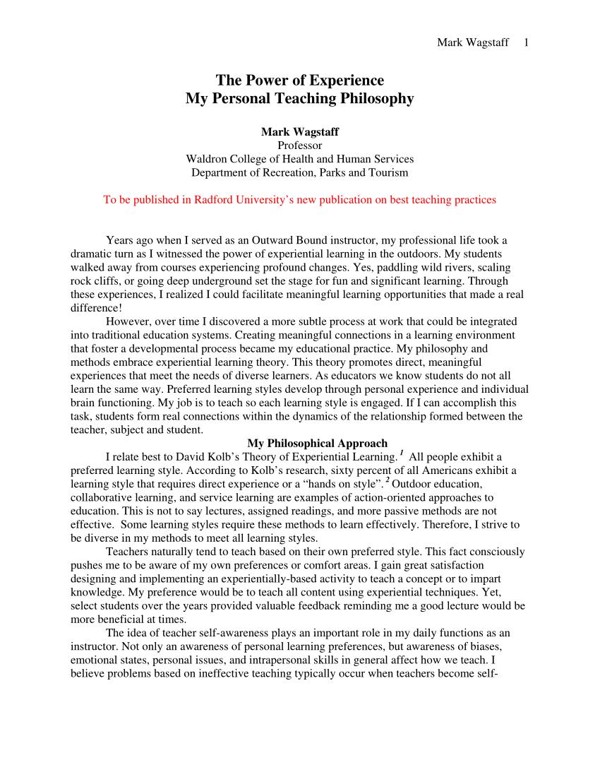 Elementary Education Teaching Philosophy Examples