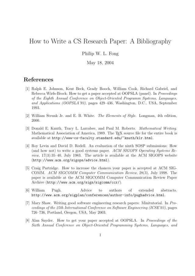 PDF) How to Write a CS Research Paper: A Bibliography