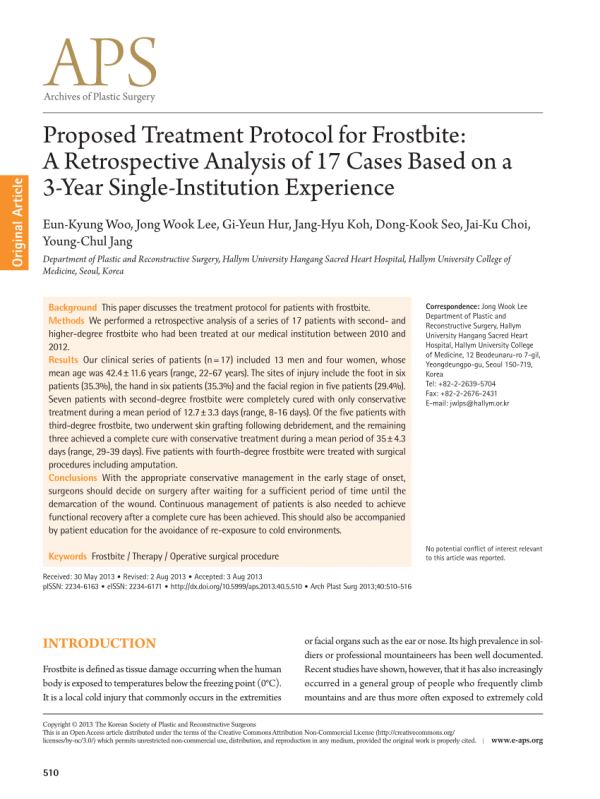 (PDF) Proposed Treatment Protocol for Frostbite: A ...