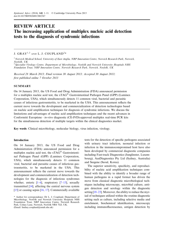 (PDF) The increasing application of multiplex nucleic acid ...