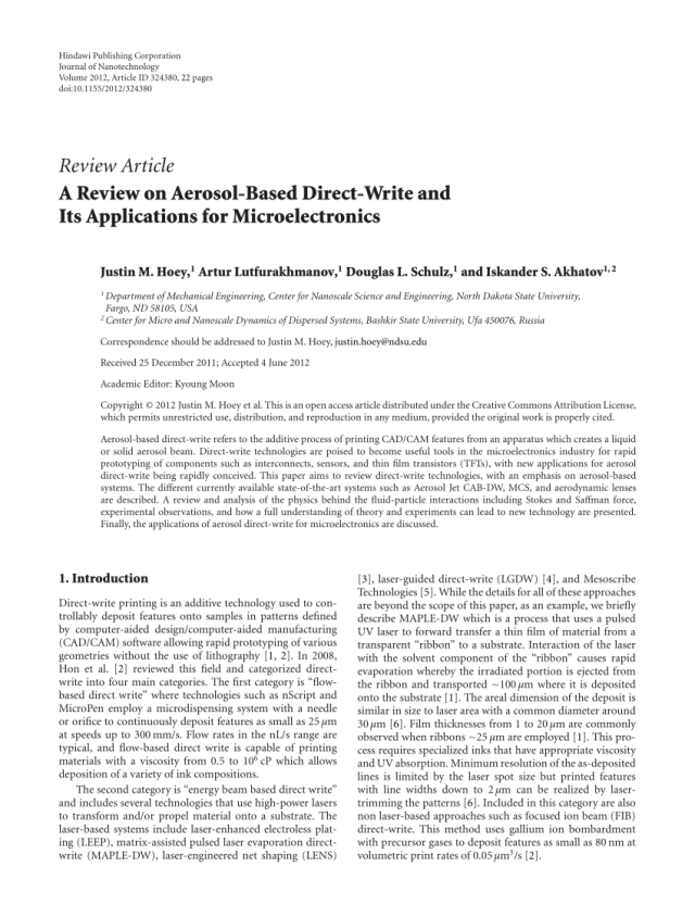 PDF) A Review on Aerosol-Based Direct-Write and Its Applications