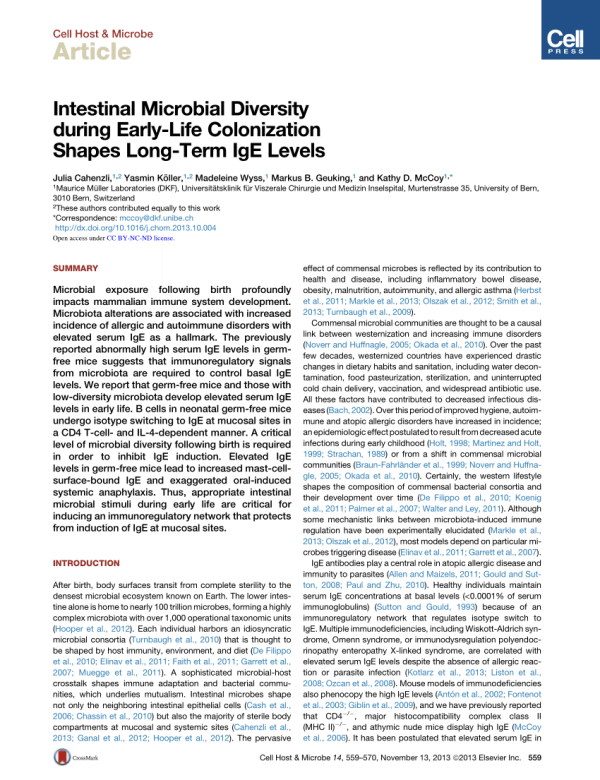(PDF) Intestinal Microbial Diversity during Early-Life ...