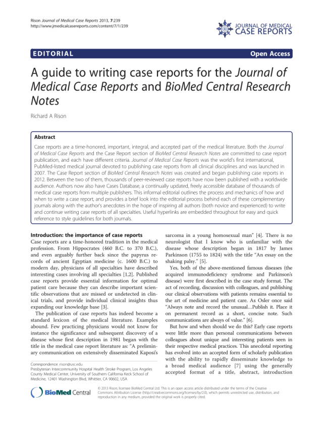 PDF) A guide to writing case reports for the Journal of Medical