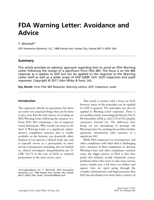 Pdf Fda Warning Letter Avoidance And