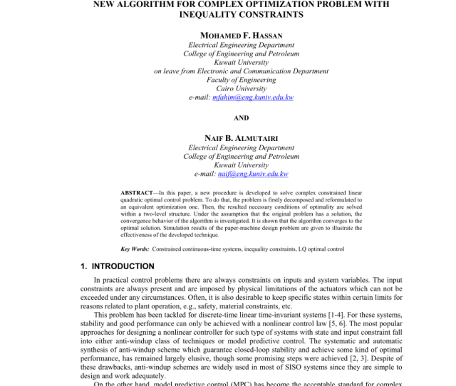 Pdf New Algorithm For Complex Optimization Problem With Inequality Constraints