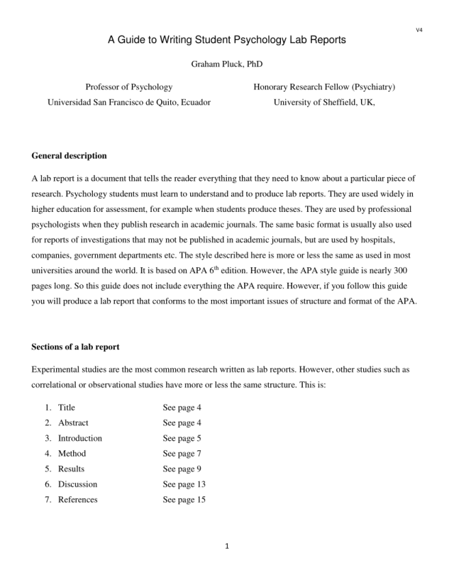 PDF) A Guide to Writing Student Psychology Lab Reports
