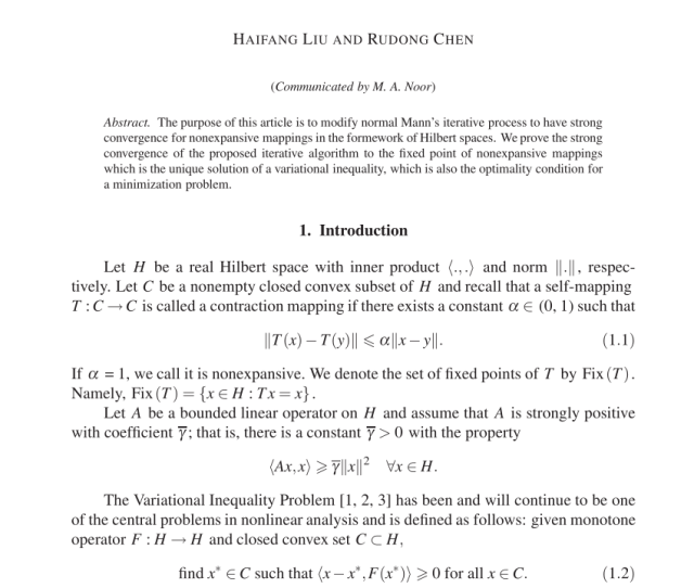 Pdf Strong Convergence Theorems Of Modified Mann Iterative Process For Nonexpansive Mappings In Hilbert Spaces