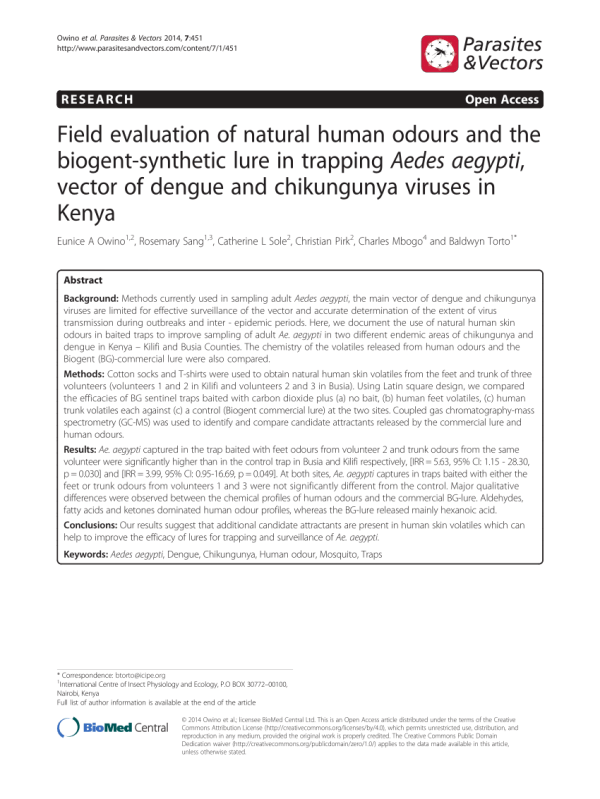 (PDF) Field evaluation of natural human odours and the ...
