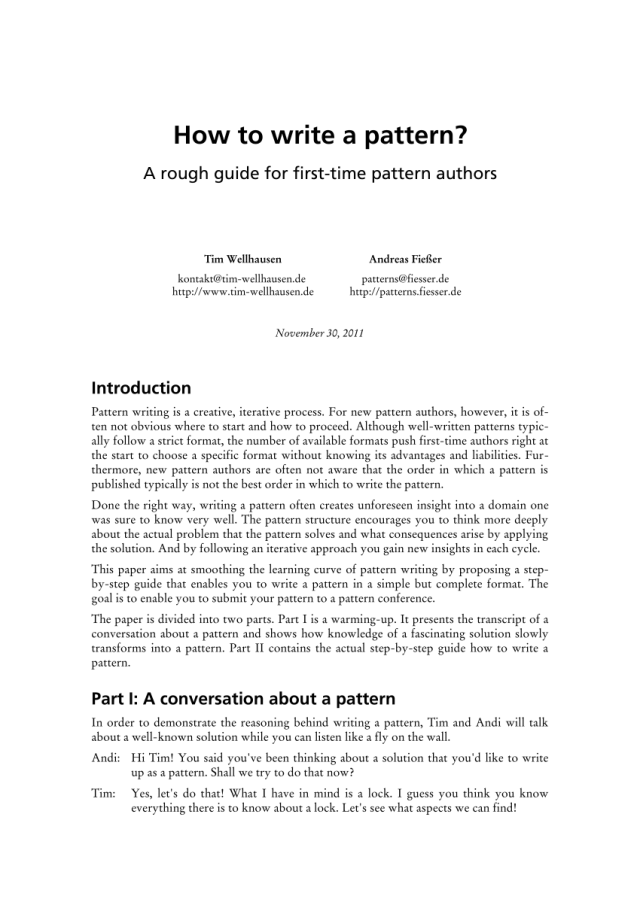 PDF) How to write a pattern?: a rough guide for first-time pattern