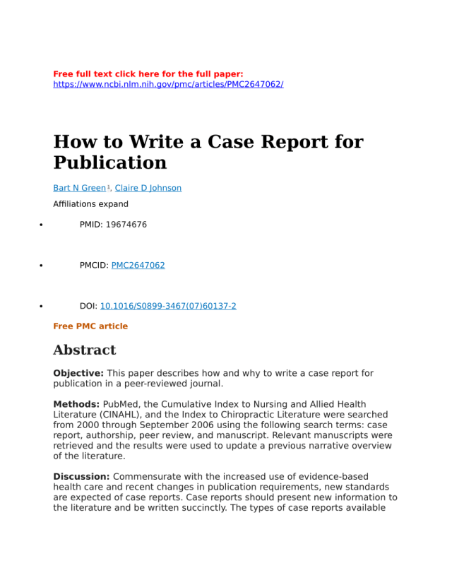 PDF) How to write a case report for publication