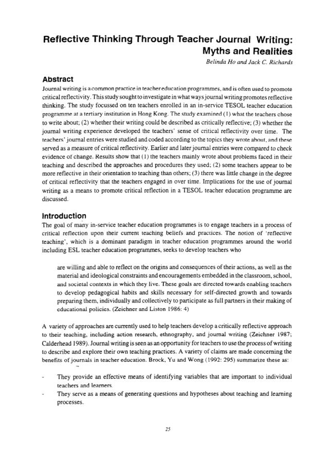 PDF) Reflective Thinking Through Teacher Journal Writing: Myths