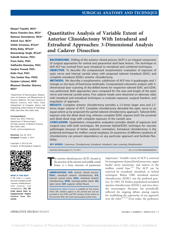 Pdf Quantitative Analysis Of Variable Extent Of Anterior Clinoidectomy With Intradural And Extradural Approaches