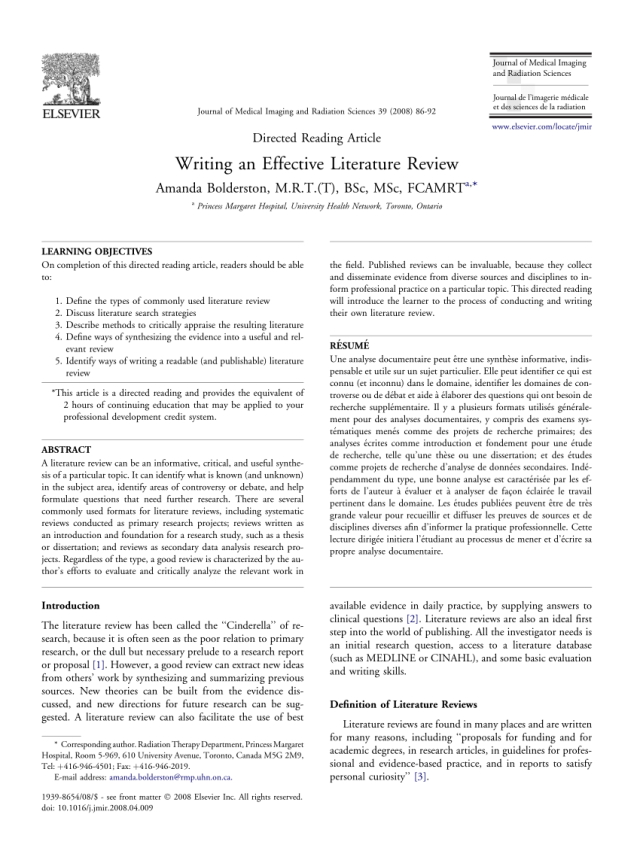 PDF) Writing an Effective Literature Review