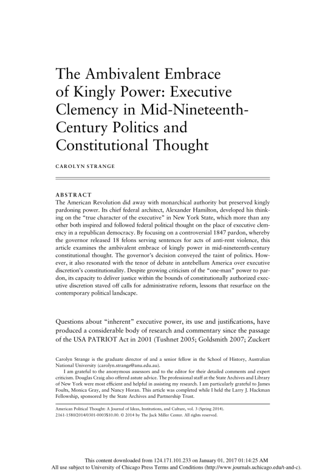 PDF) The Ambivalent Embrace of Kingly Power: Executive Clemency in
