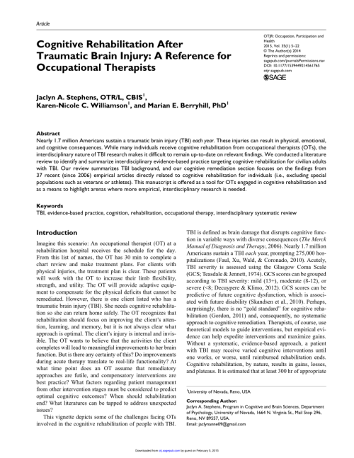 Occupational Therapy Frame Of Reference For Traumatic Brain Injury ...