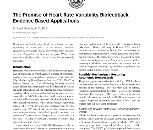 Pdf The Promise Of Heart Rate Variability Biofeedback Evidence Based Applications
