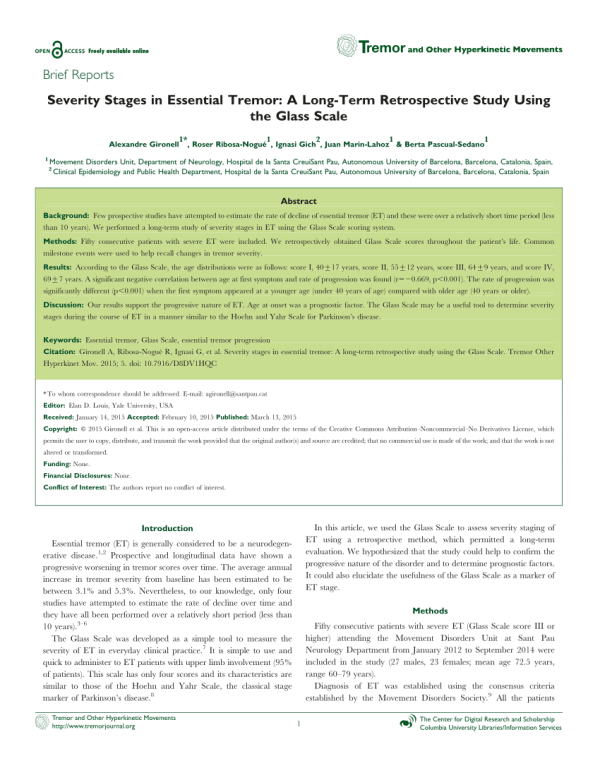 (PDF) Severity Stages in Essential Tremor: A Long-Term ...