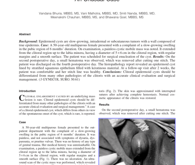 Epidermal Cyst Of The Clitoris A Rare Cause Of Clitorimegaly Request Pdf