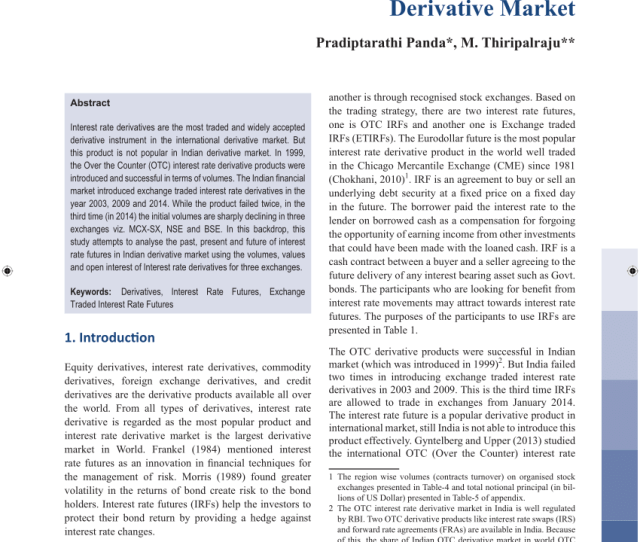 Pdf Rise And Fall Of Interest Rate Futures In Indian Derivative Market