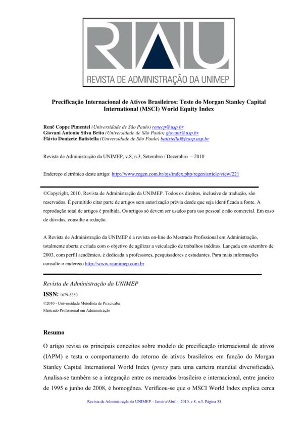 (PDF) Precificação Internacional de Ativos Brasileiros ...