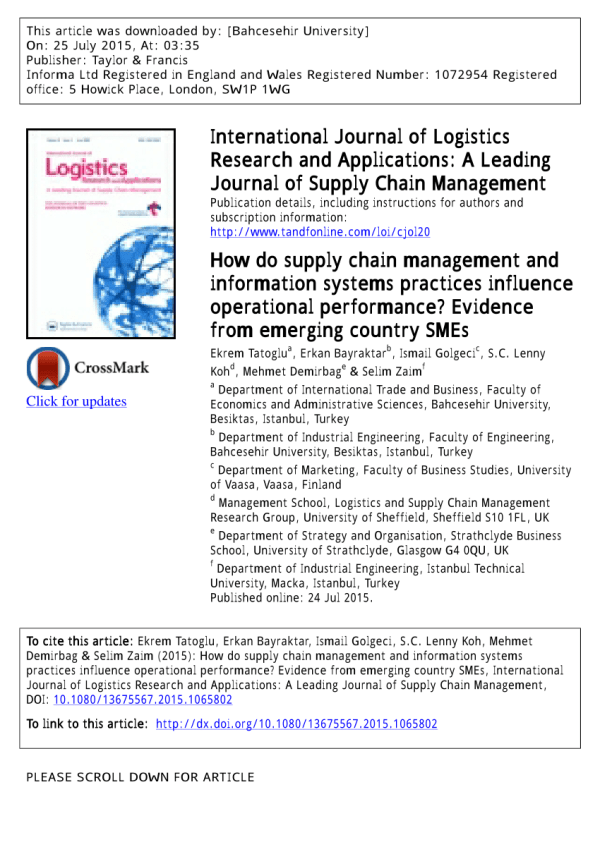 (PDF) How do supply chain management and information ...