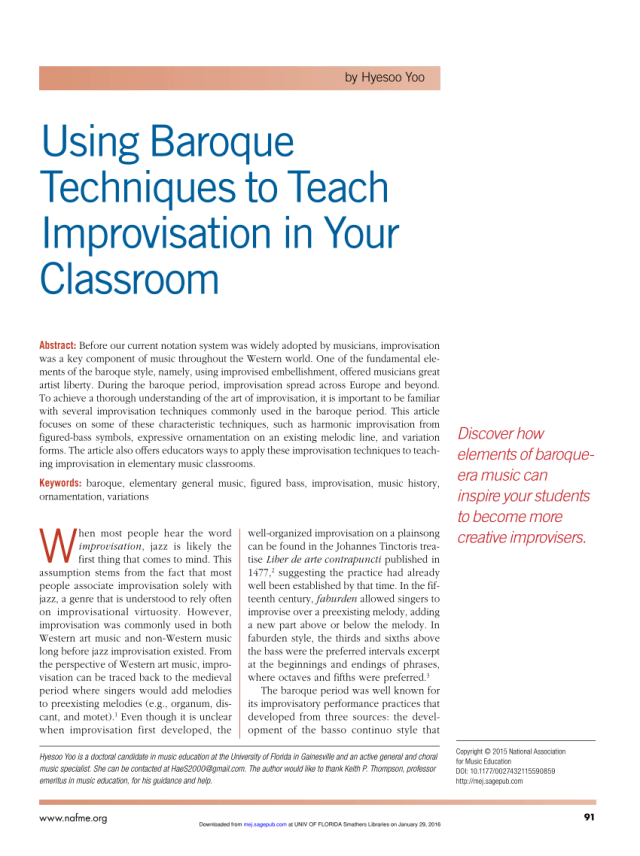 PDF) Using Baroque Techniques to Teach Improvisation in Your Classroom