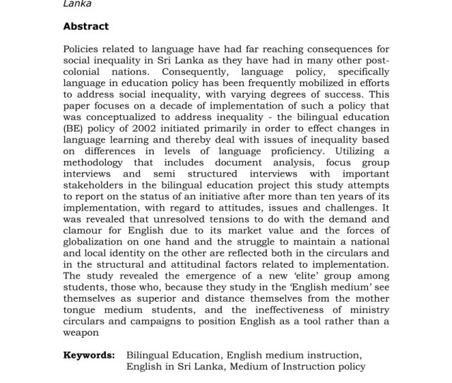 Issues And Tensions Related To Bilingual Education Policy In Sri Lanka
