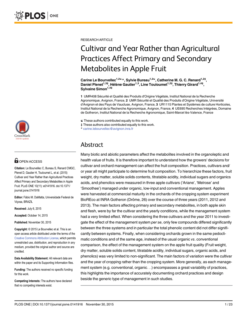 pdf cultivar and year rather than agricultural practices affect primary and secondary metabolites in apple fruit