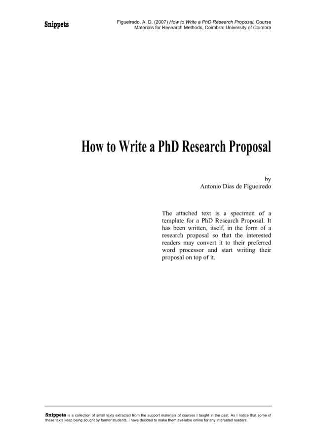 PDF) How to Write a PhD Research Proposal