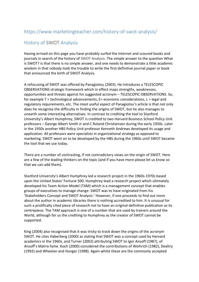 PDF) History of swot analysis