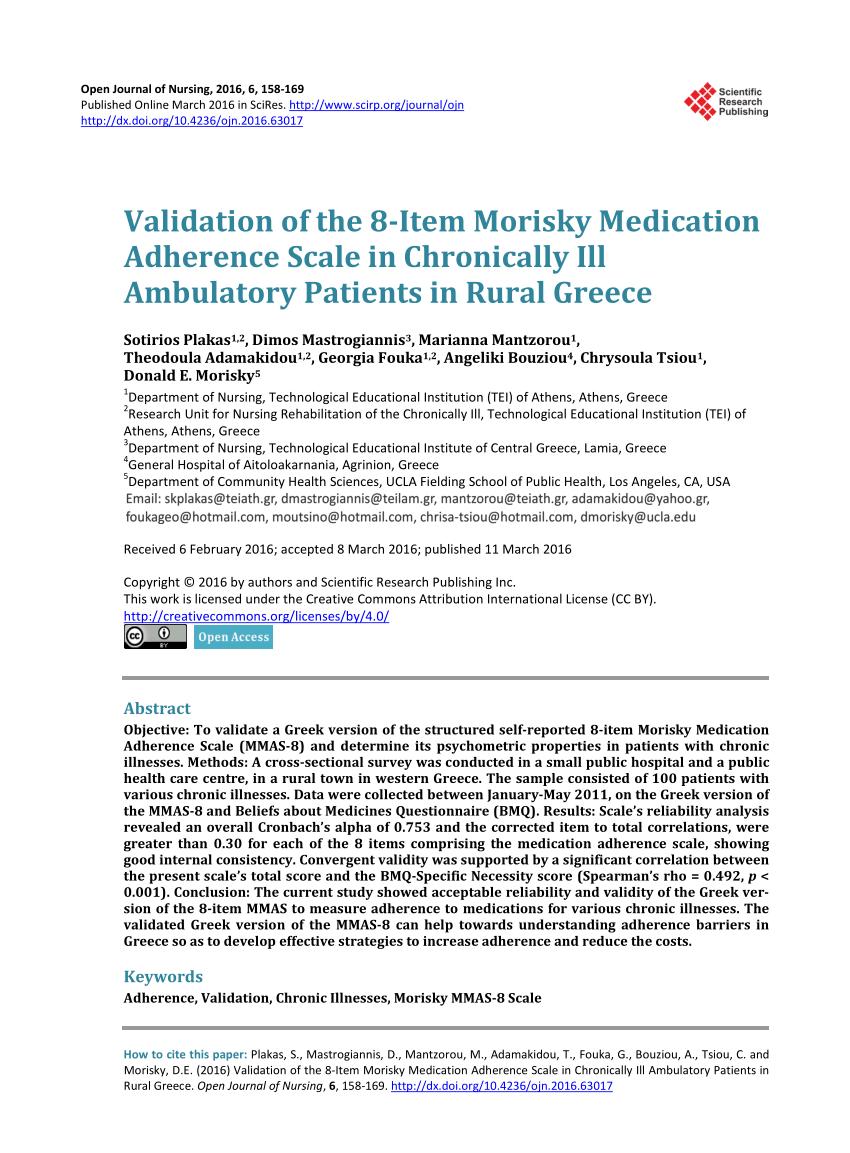 Validation Of The 8 Item Morisky Medication