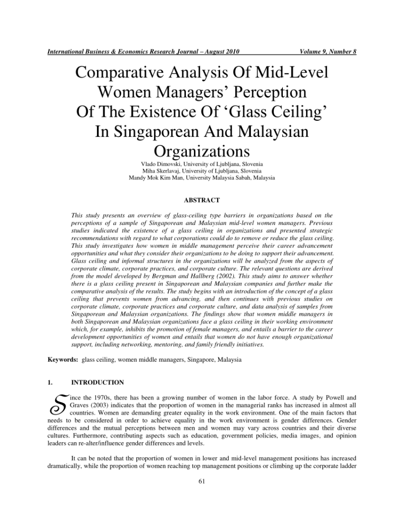 Comparative Analysis Of Mid Level Women Managers Perception The Existence Glass Ceiling In Singaporean And Malaysian Organizations Pdf