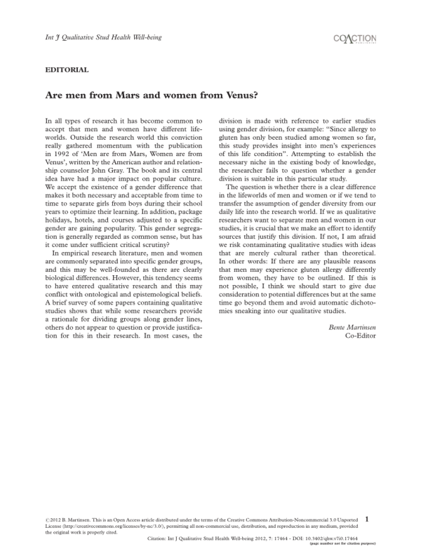 (PDF) Are men from Mars and women from Venus?
