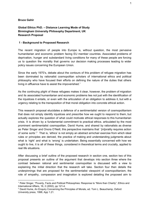 PDF) Proposal for PhD research in Global Ethics