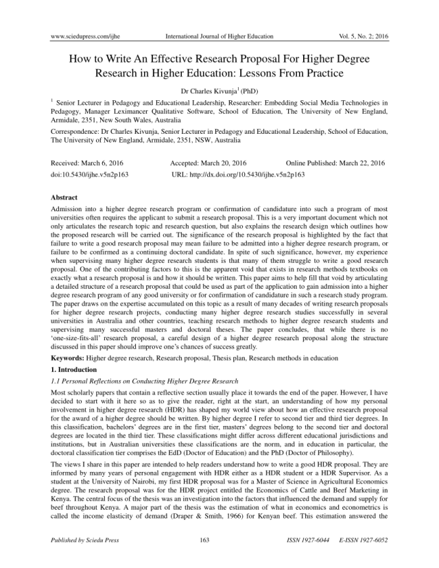 PDF) How to Write An Effective Research Proposal For Higher Degree