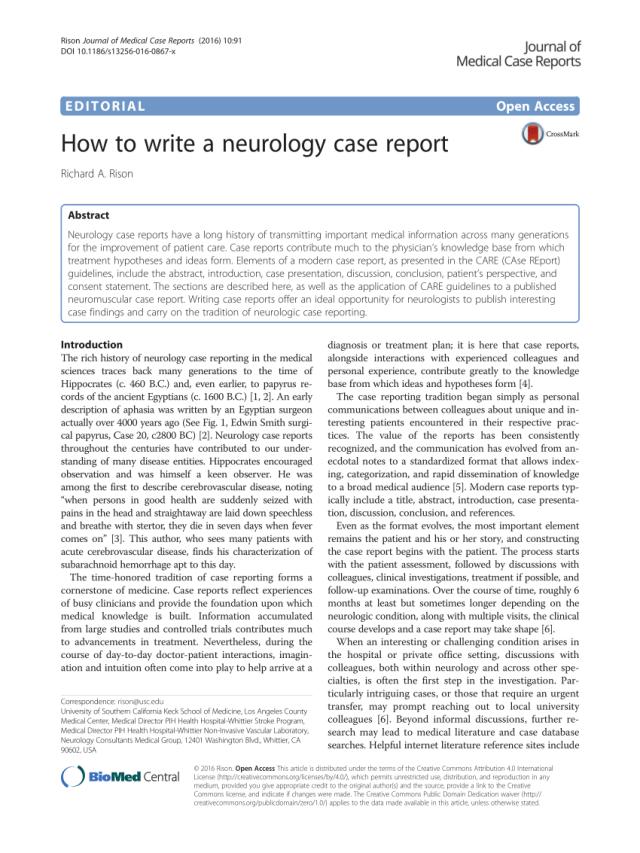 PDF) How to write a neurology case report