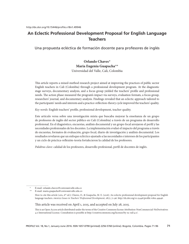 PDF) An Eclectic Professional Development Proposal for English