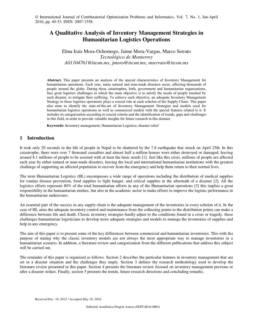 pdf a qualitative analysis of inventory management strategies in humanitarian logistics operations