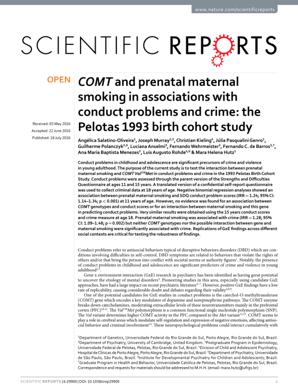 COMT and prenatal maternal smoking in associations with ...