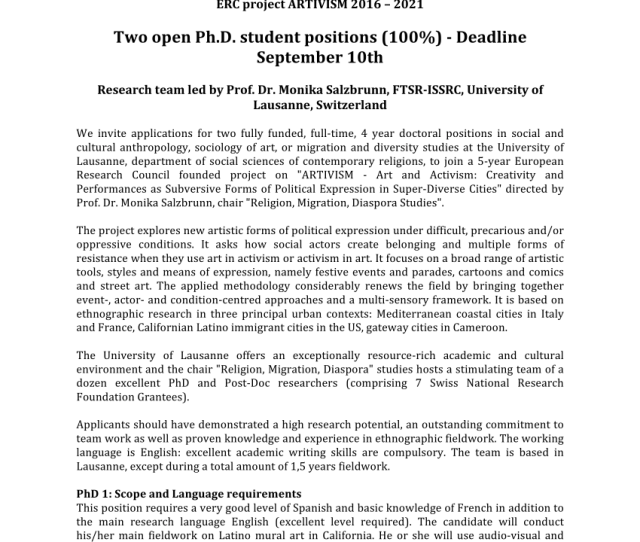 Pdf Two Open Ph D Student Positions  Deadline September Th Erc Project Artivism   Research Team Led By Prof