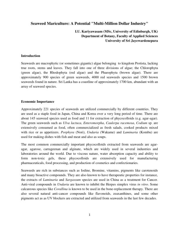 "(PDF) Seaweed Mariculture: A Potential ""Multi-Million ..."