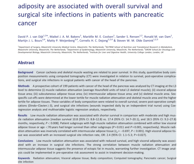 Pdf Preoperative Sarcopenia And Post Operative Accelerated Muscle Loss Negatively Impact Survival After Resection Of Pancreatic Cancer Pre And